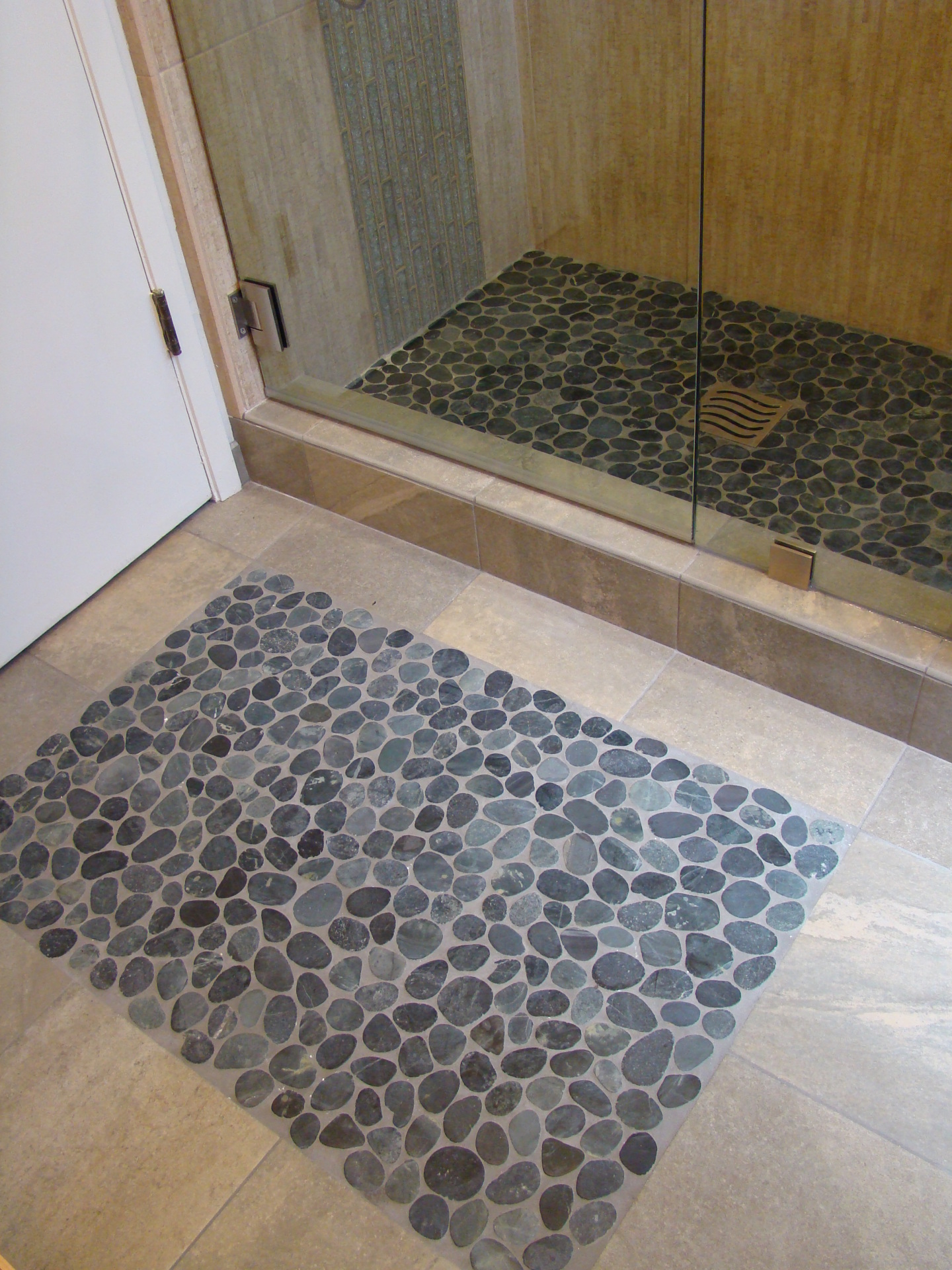 Fiorito Interior Design, interior design, remodel, bathroom, tropical, pebble rug, pebble shower pan, shower