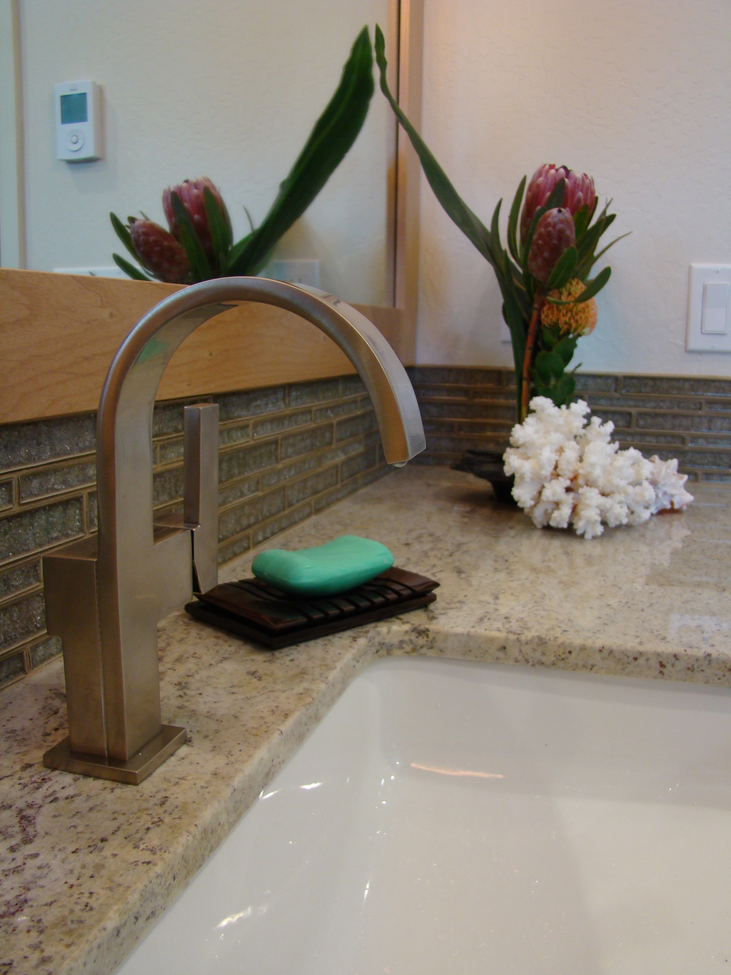 Fiorito Interior Design, interior design, remodel, bathroom, tropical, custom vanity, marble counter, sink, faucet