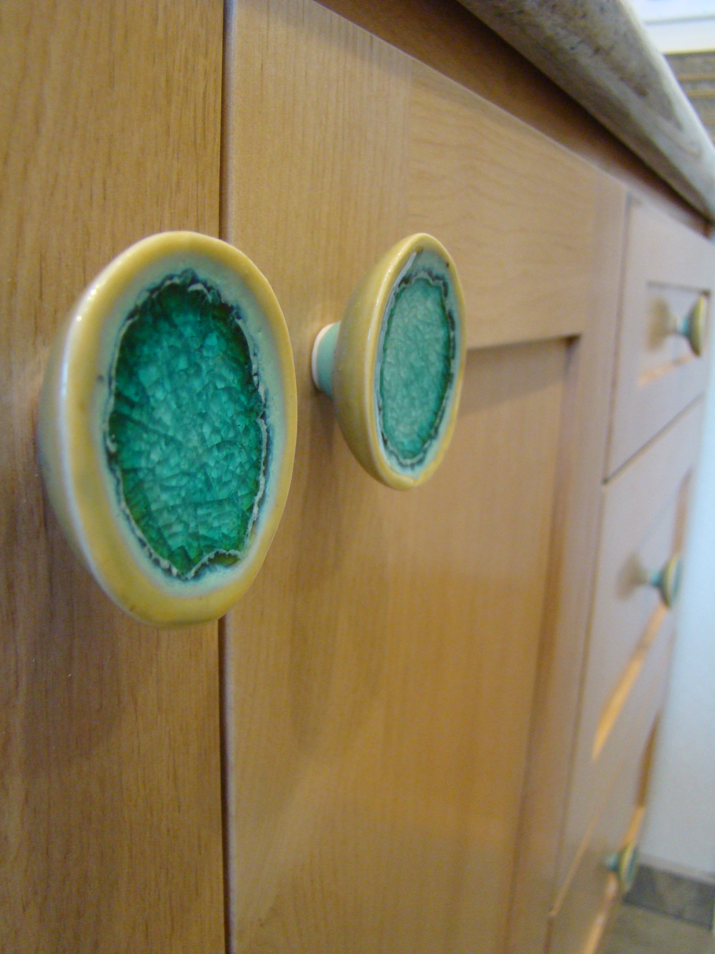 Fiorito Interior Design, interior design, remodel, bathroom, tropical, custom vanity, ceramic door handles