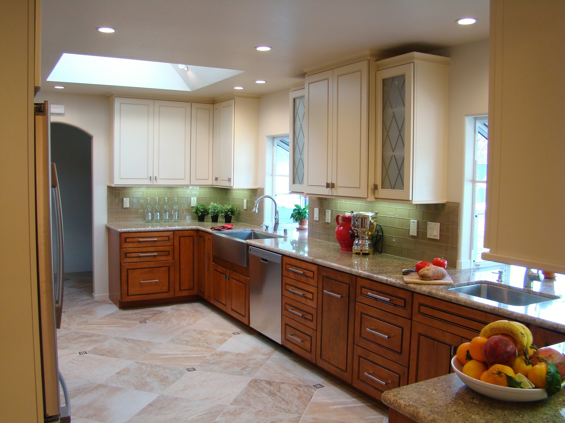 Fiorito Interior Design, interior design, remodel, kitchen, light and dark cabinetry, granite counter, skylight