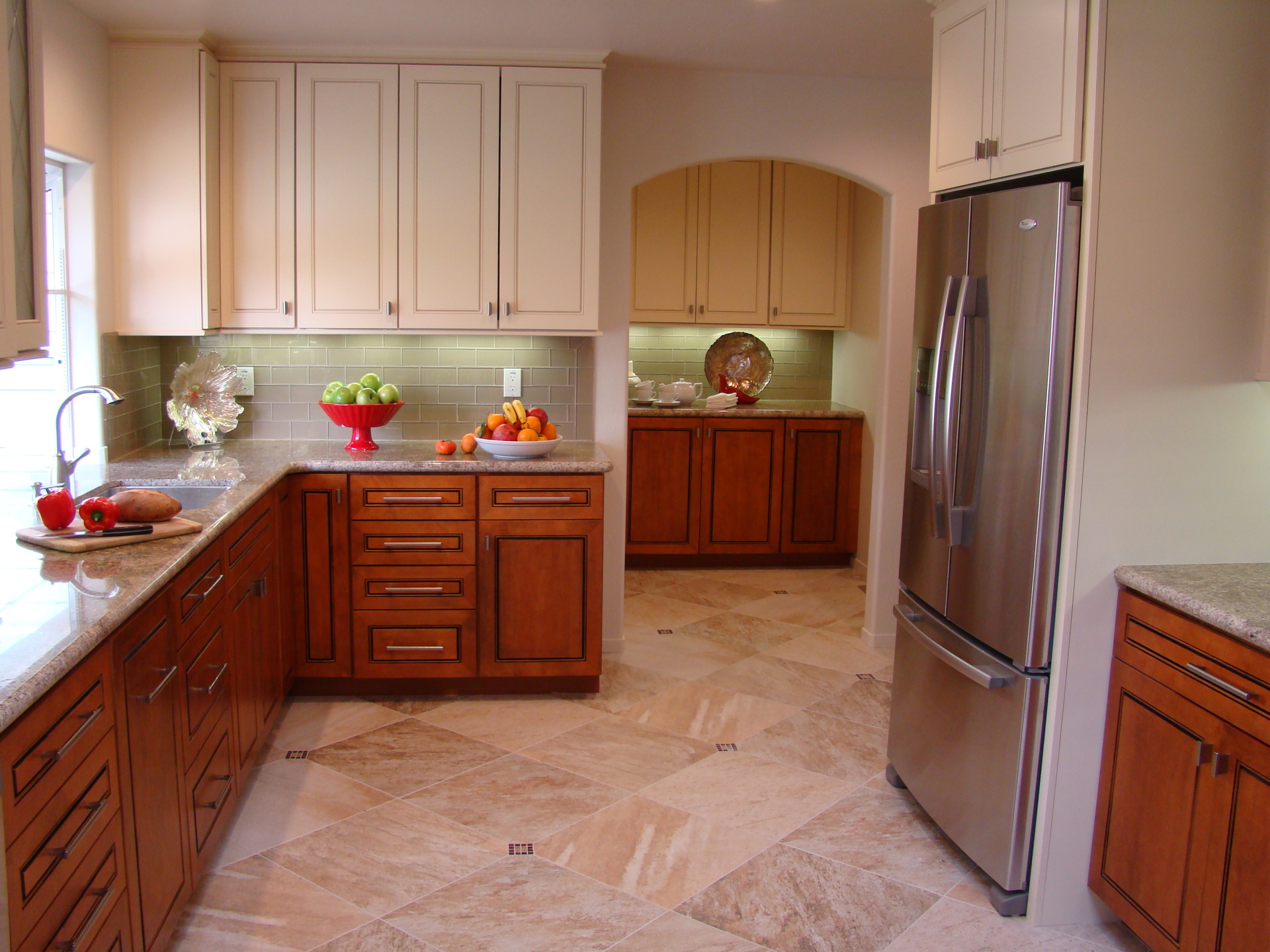 Fiorito Interior Design, interior design, remodel, kitchen, light and dark cabinetry, granite counter, pantry