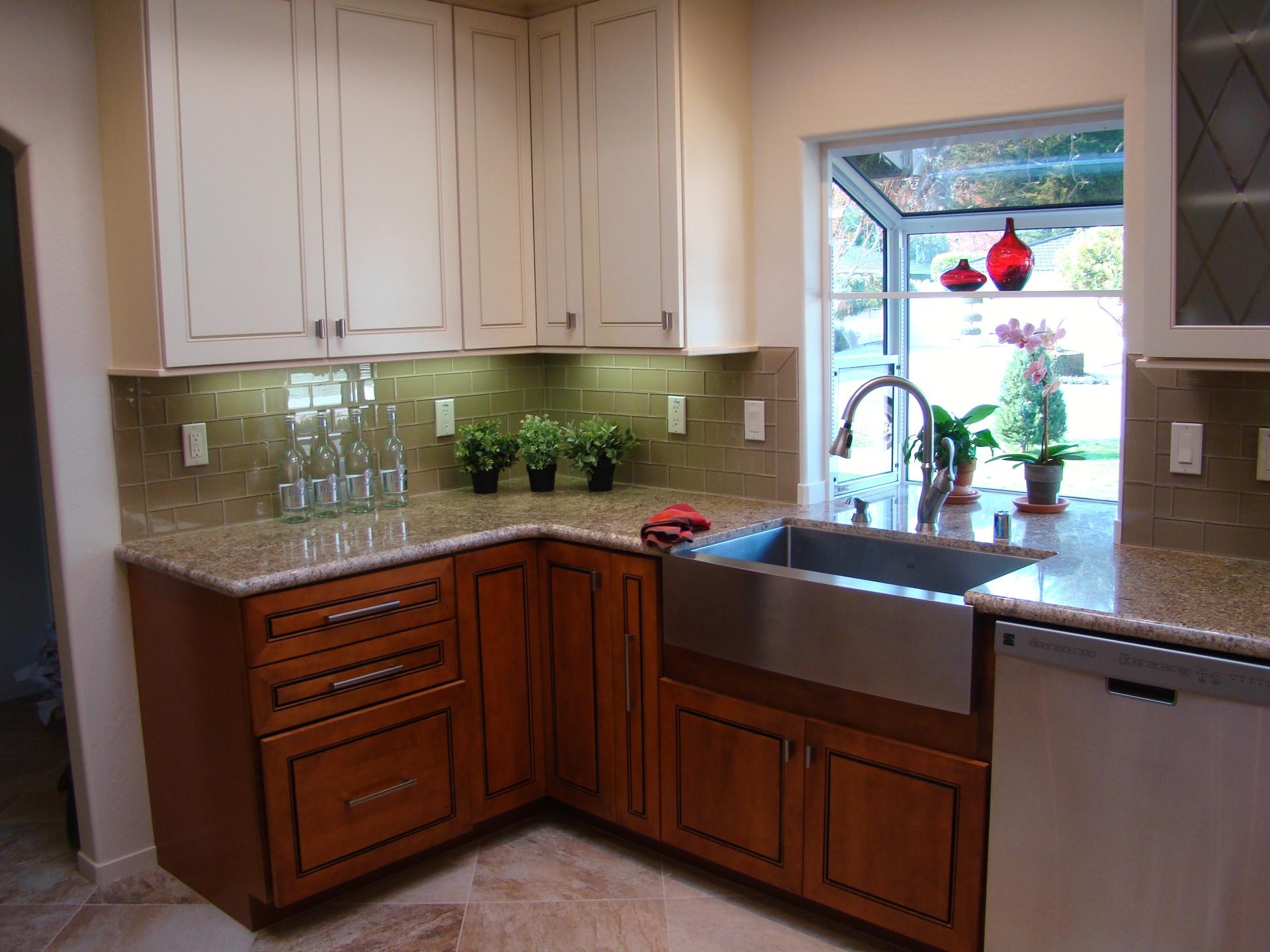 Fiorito Interior Design, interior design, remodel, kitchen, light and dark cabinetry, granite counter, farm house sink, apron sink