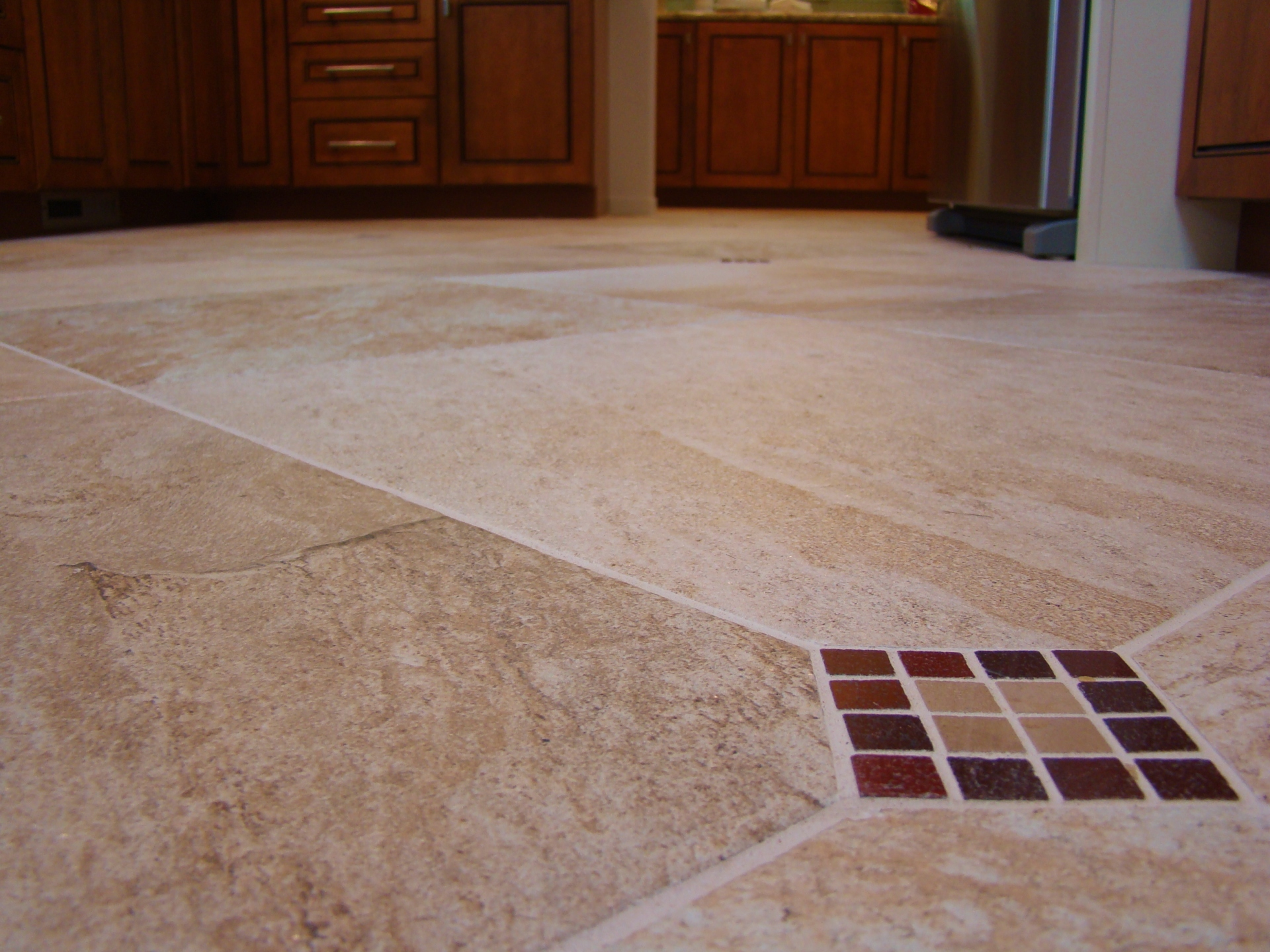Fiorito Interior Design, interior design, remodel, kitchen, light and dark cabinetry, custom tile floor, marble mosaic