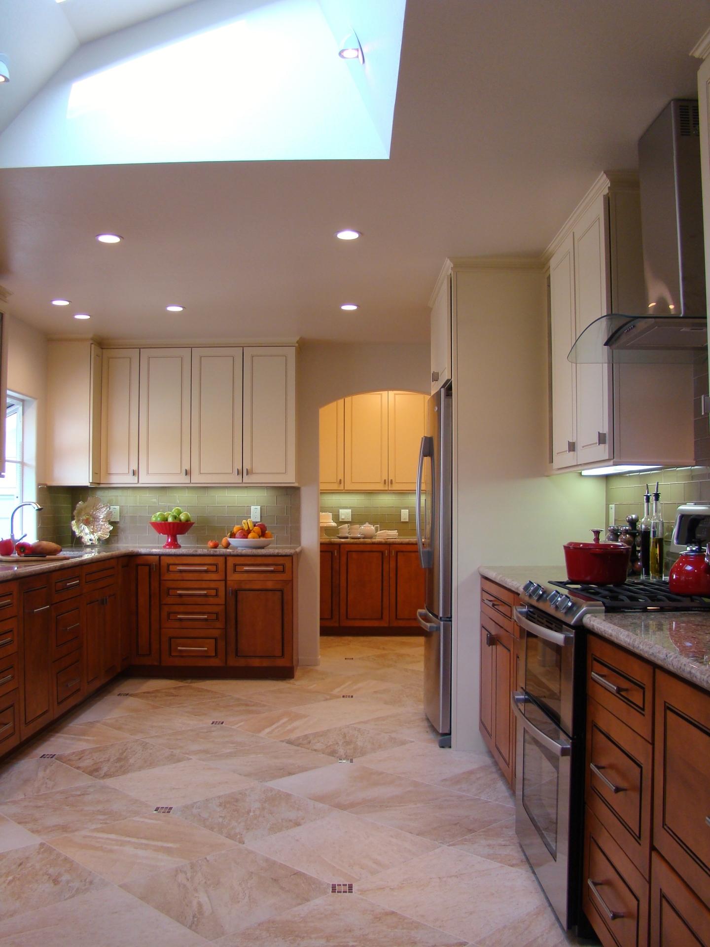Fiorito Interior Design, interior design, remodel, kitchen, light and dark cabinetry, granite counter, skylight