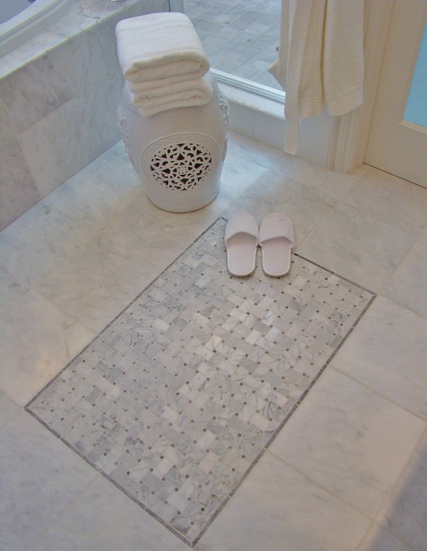 Fiorito Interior Design, interior design, remodel, master bathroom, white and grey, tub, shower, marble floor, basketweave