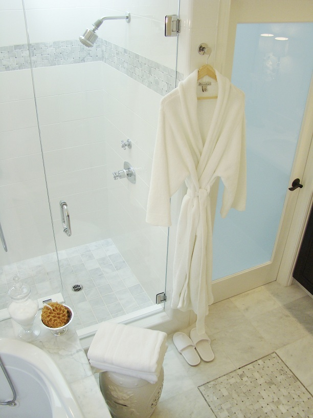 Fiorito Interior Design, interior design, remodel, master bathroom, white and grey, tub, shower, marble floor, basketweave
