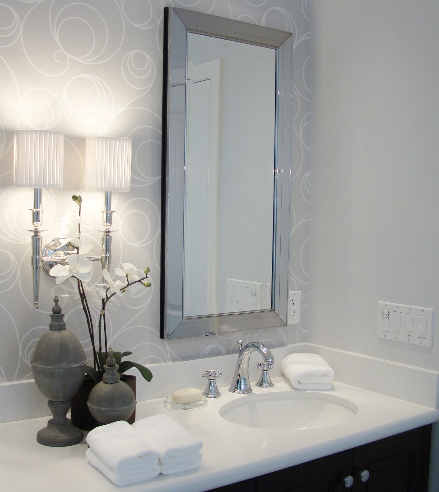 Fiorito Interior Design, interior design, remodel, master bathroom, white and grey, custom vanity, sconce, framed mirror medicine chest, wallpaper