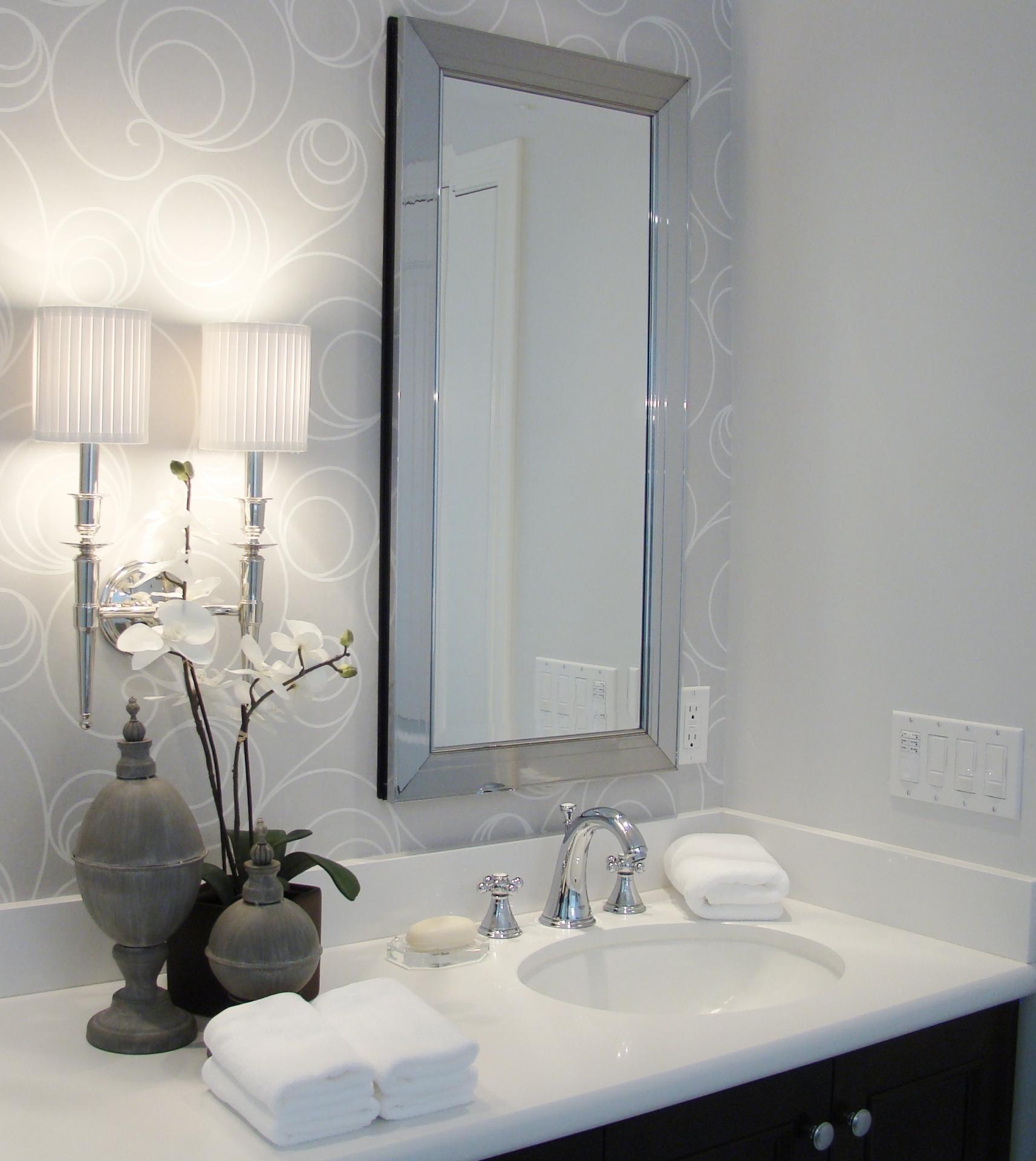 Fiorito Interior Design, interior design, remodel, master bathroom, white and grey, custom vanity, sconce, framed mirror medicine chest, wallpaper