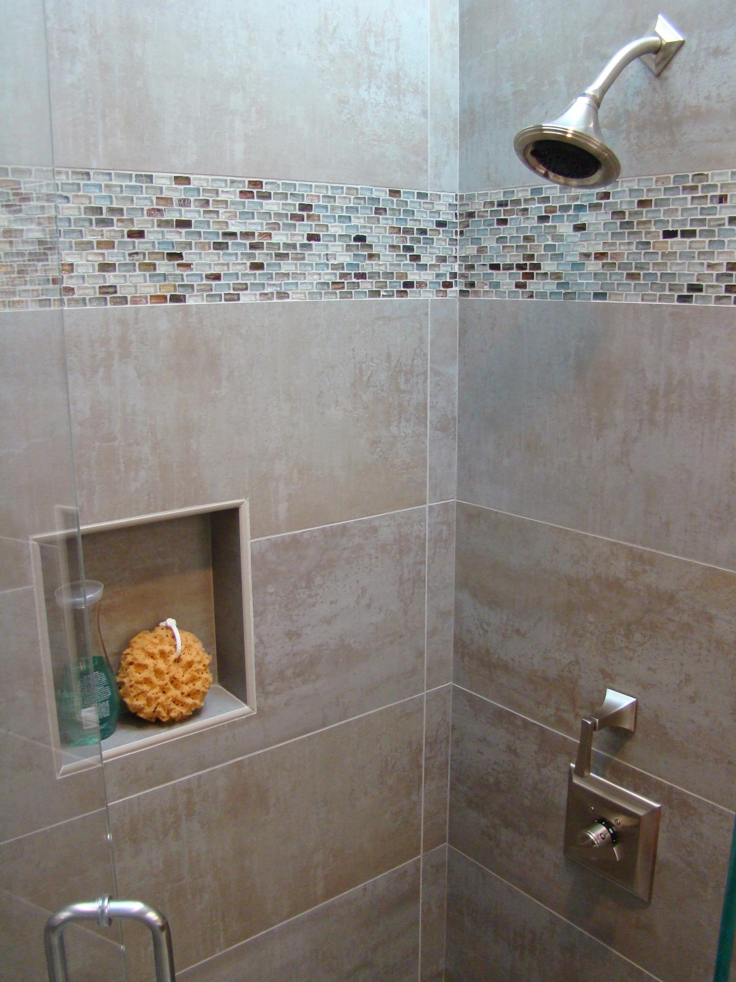 Fiorito Interior Design, interior design, remodel, bathroom, transitional, shower, glass mosaic