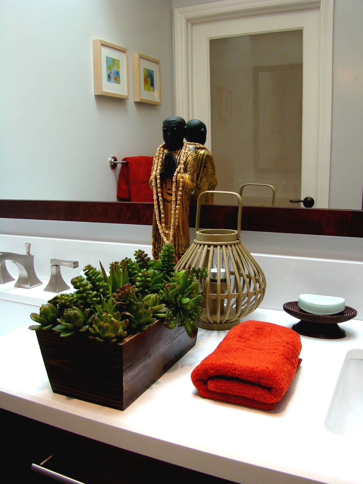 Fiorito Interior Design, interior design, remodel, bathroom, transitional, custom vanity, double sinks, framed mirror