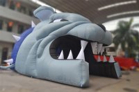 Inflatable Bulldog mascot tunnel for football team entrance to the field