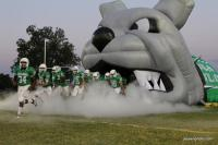Inflatable bulldog mascot tunnel (old model) for football team entrance to the field