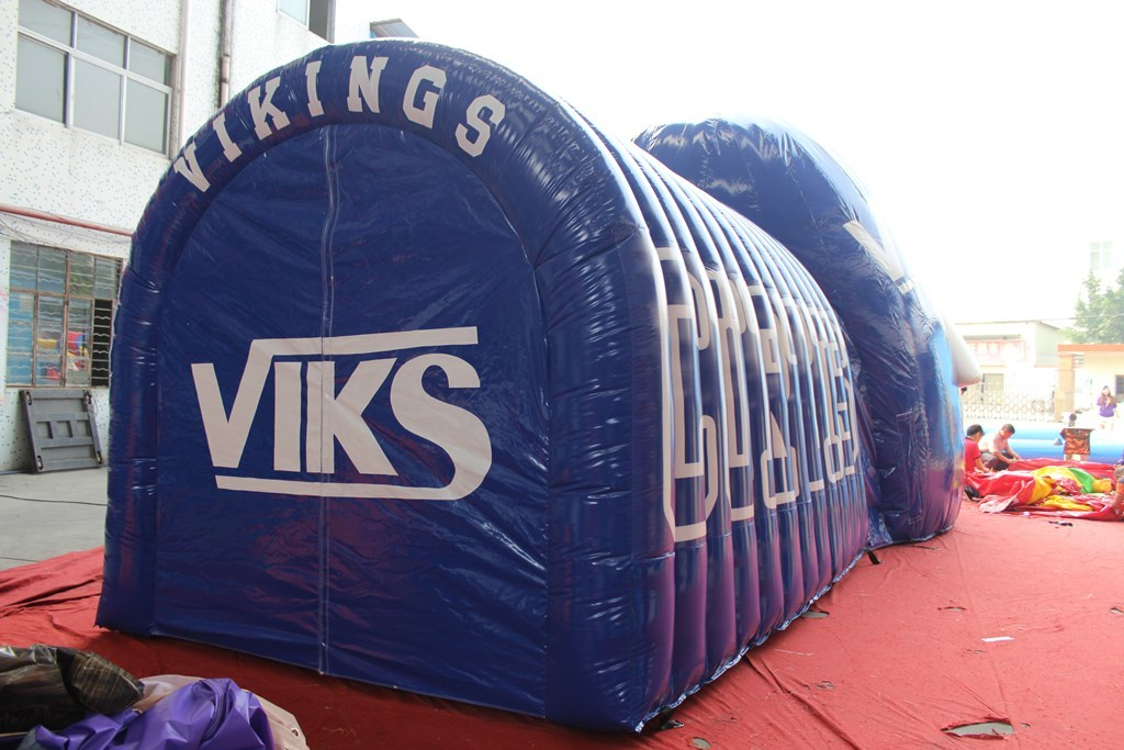 Inflatable helmet tunnel for football team entrance to the field