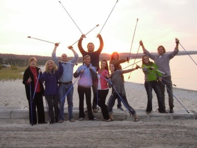 EXEL Nordic Ski Walking Poles for the beach and the sand dunes. Carbon Nordic Walking Poles prove to be lighter and stronger