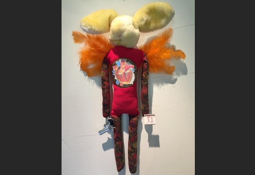art, soft sculpture, fabric, mixed media, Geoff Fiorito, Jeff Fiorito, Cupid