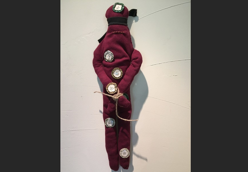 art, soft sculpture, fabric, mixed media, Geoff Fiorito, Jeff Fiorito, Schoolchild series, I Hurt Here
