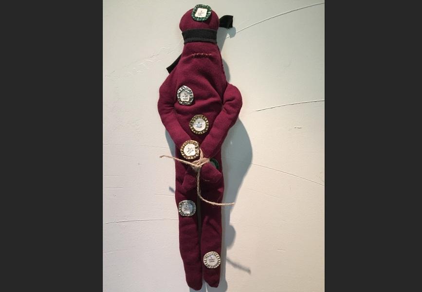 art, soft sculpture, fabric, mixed media, Geoff Fiorito, Jeff Fiorito, Schoolchild series, I Hurt Here