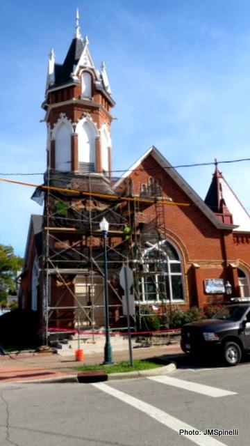 Bell tower stabilization work
