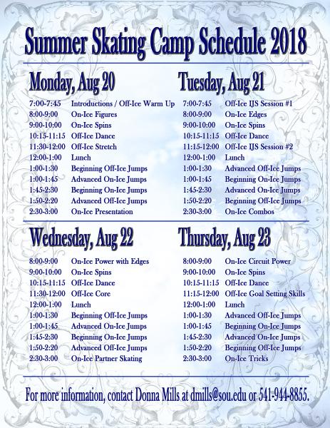 Skate Camp Schedule
