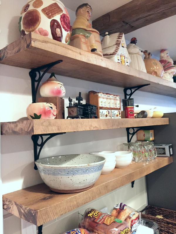 Barn wood kitchen shelves