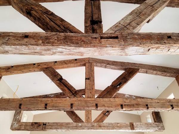 Reclaim wood beam trusses