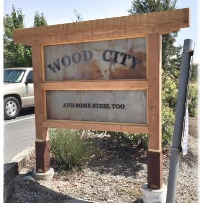 Wood City Sign