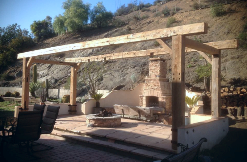 pergola, wood beams, rustic beams, reclaimed wood
