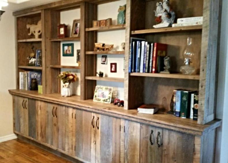 Barn wood book shelf