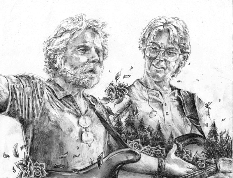 Pencil drawing by Hannah Hopkins Bobby and Phil