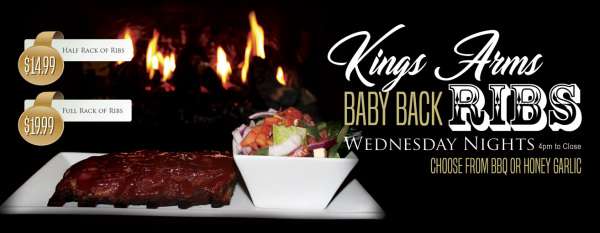 Wednesday evenings enjoy a half or full rack of our delicious baby back ribs.