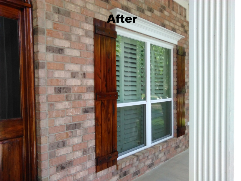 Custom Built Rustic Shutters With Metal Accents