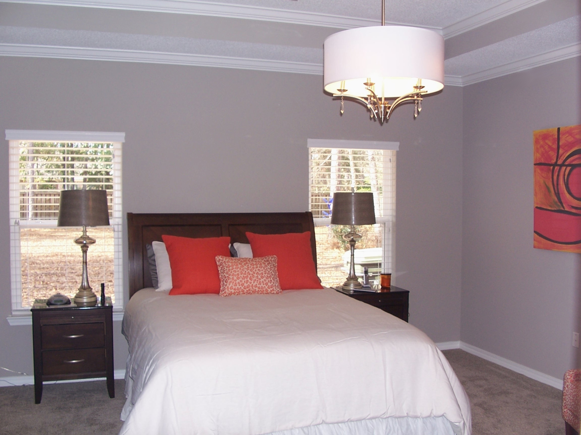 Grey walls with red accents