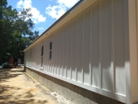Painted white exterior walls
