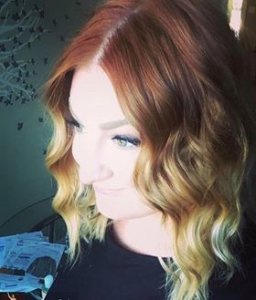 Bright Red to Golden Balayage