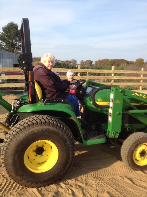 Mom and Aunt Mary Enjoying the Tractor