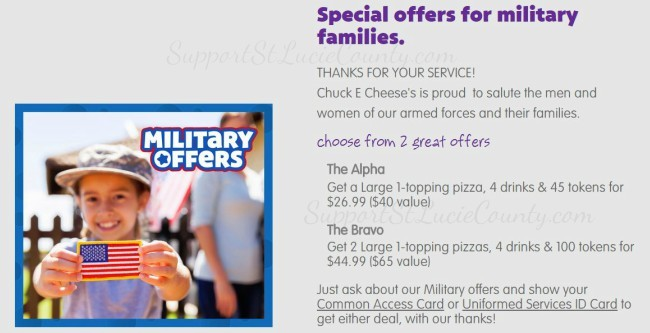 Chuck E Cheese Military offer