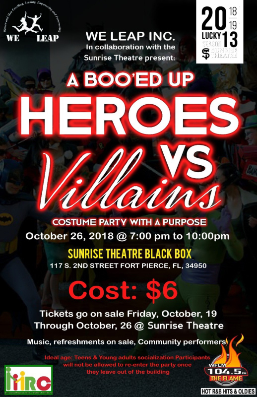 Boo'ed Up Heroes VS Villains Costume Party at the Sunrise Theatre