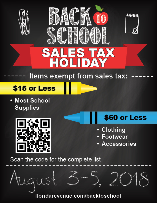 Annual Back to School Sales Tax Holiday - Florida