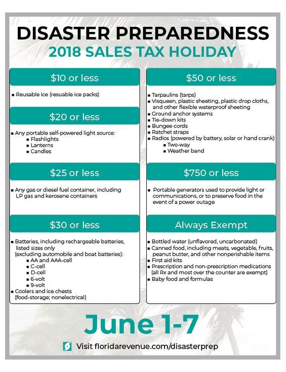 Annual Disaster Preparedness Sales Tax Holiday - Florida