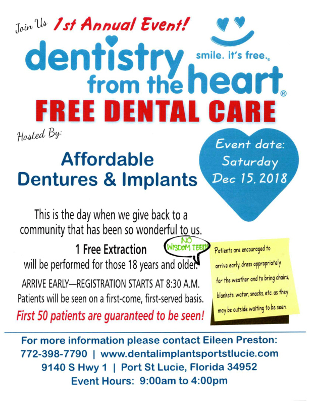 Annual Dentistry from the Heart at Affordable Dentures & Implants