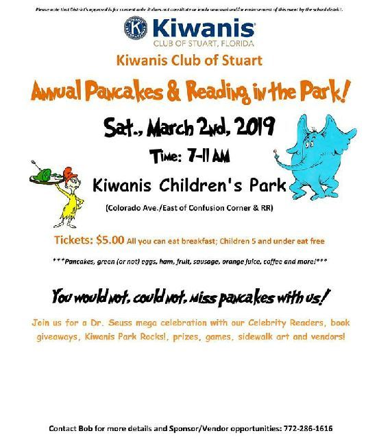 Annual Pancakes & Reading in the Park at Kiwanis Park