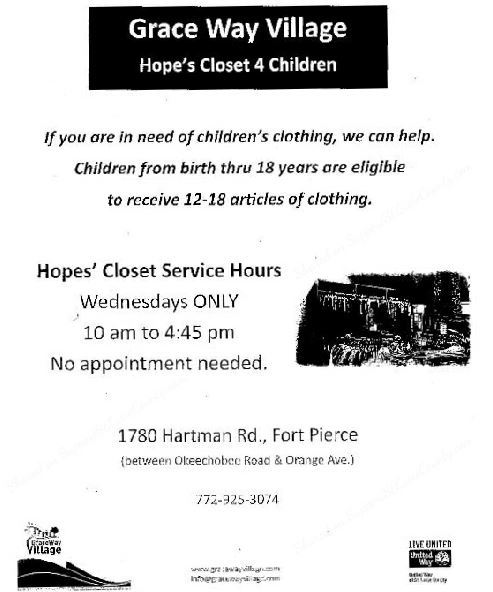 Free Clothes for Children at Hope's Closet 4 Children - Grace Way Village