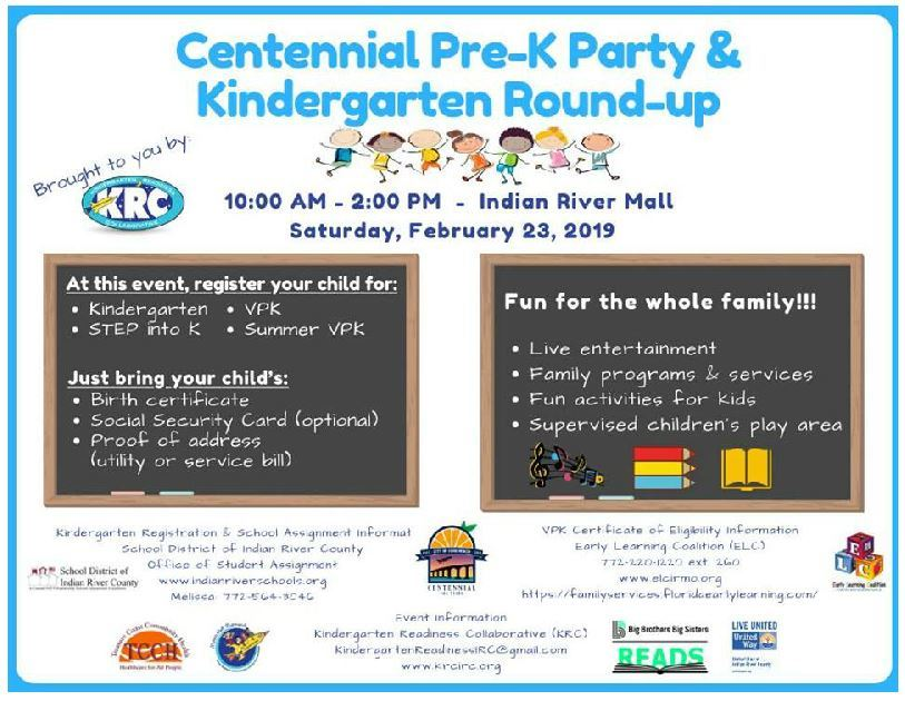 Pre-K Party & Kindergarten Round Up at Indian River Mall - Vero Beach