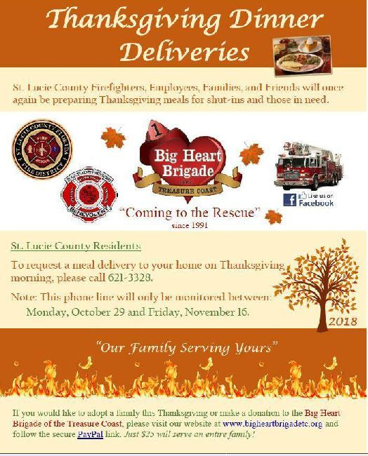 Big Heart Brigade of The Treasure Coast's Thanksgiving Dinner Deliveries
