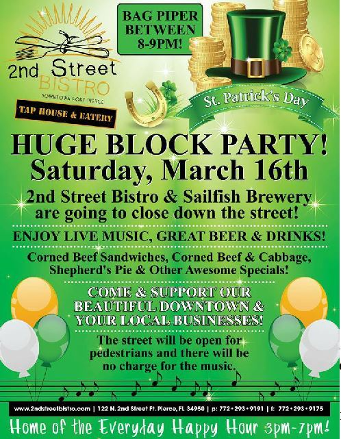 Saint Patrick's Day Block Party at 2nd Street Bistro & Sailfish Brewing Company