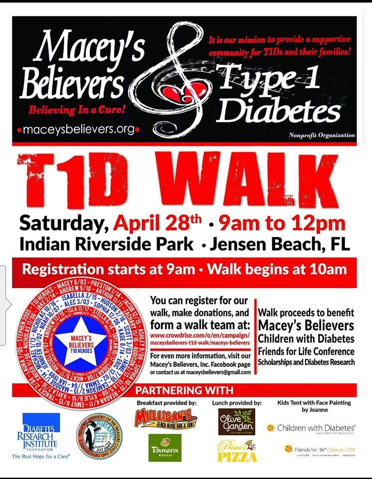 Macey's Believers T1D Walk at Indian Riverside Park