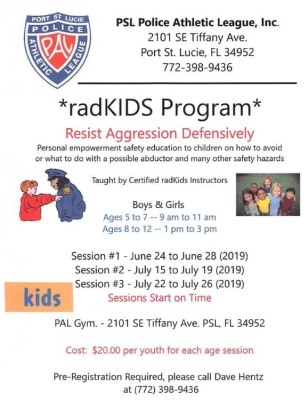 Port St Lucie Police Athletic League's radKIDS Program at the PAL