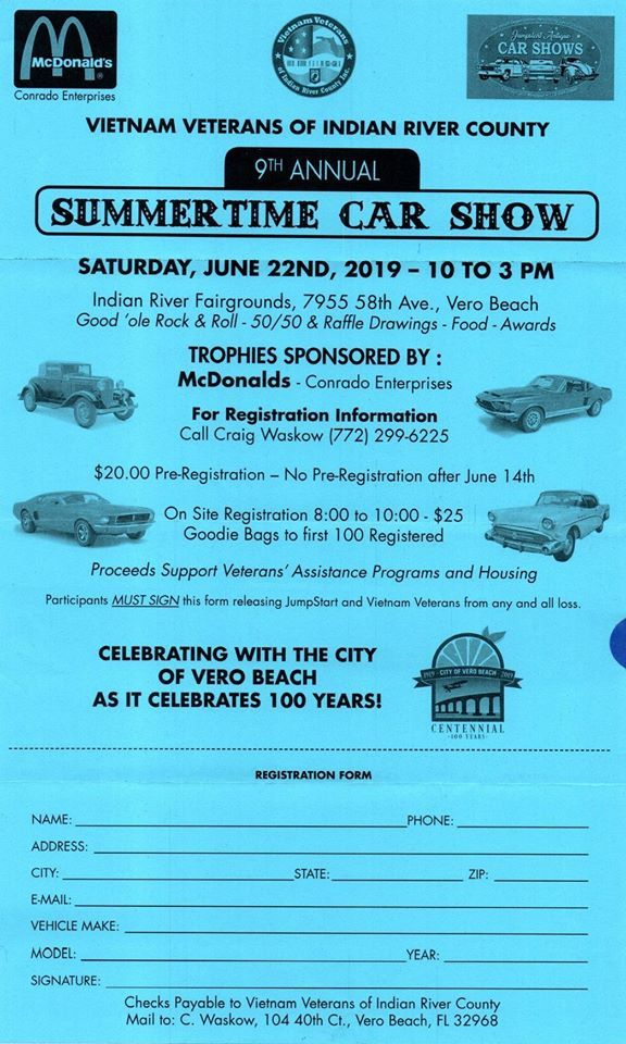 Vietnam Veteran's of Indian River County's Annual Summertime Car Show