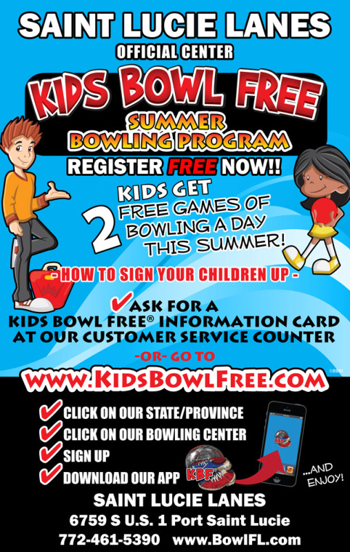 Kids Bowl Free at St Lucie Lanes, Port St Lucie FL