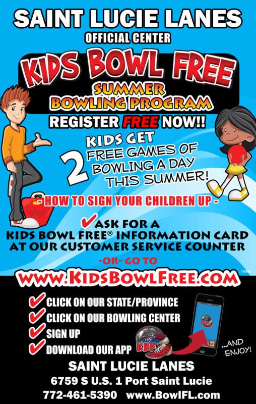 Kids Bowl Free at St Lucie Lanes, Port St Lucie FL